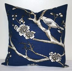 Navy Blue and White Pillow Cover 18 inch Robert Allen Vintage Blossom in Twilight Decorative Pillows Throw Pillow Cushion Covers via Etsy
