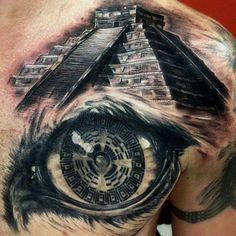 Maya Tattoo Schulter Auge Pyramide 3D