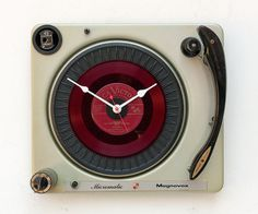 Recycled record player clock by pixelthis on Etsy, $137.00