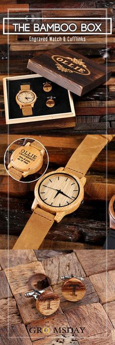 Grab this stylish, eco-friendly Bamboo wood wristwatch and matching cufflinks set, enclosed in an engraved wooden gift box. The perfect personalized groomsmen gift, this natural bamboo watch is well constructed with leather straps, and manufactured wit Best Groomsmen Gifts, Wedding Gifts For Groomsmen, Groom And Groomsmen Attire, Groomsman Gifts, Bridesmaid Gifts, Bridesmaids, Wedding Suits, Groom Gifts, Groomsmen Watches