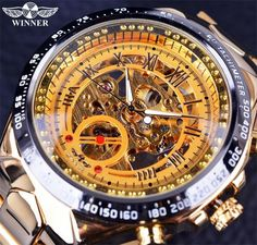 b5a964e1e7a Sport Design Bezel Golden Watch Men Automatic Skeleton Watch