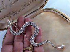 vintage jewellery Huge Sparkling Butler And Wilson Signed Crystal Snake Brooch