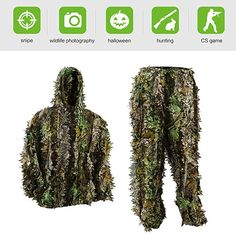 Pellor Kids Ghillie Suits, Leafy Ghille Suit for Youth Boys, Kid Hooded Hunting Airsoft Camouflage Gillies Suits (Up&Down Suit, Fit Tall camouflage