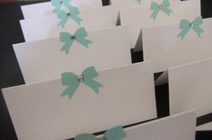 Blue Bow Place Cards