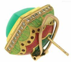 Jodhpur Chrysoprase Earrings: 23.5ct Gold, Meenakari, Fine Australian Chrysoprase & Fine Diamonds. Alice Cicolini. Absolutely stunning.
