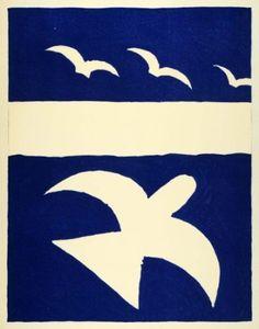 1955 Color Lithograph Oiseaux Georges Braque French Bird Art Verve Sketchbook -