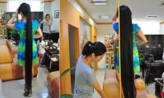 Woman auctions off her two-metre long locks to raise cash after hearing of plight of run-down school. Xiao Yeh, 38, from Shenzhen wants to help a middle school in south China. Once turned down a £2,000 offer, and bidding is currently over £1,000. She's been growing her hair for 15 years, with no chemical products.