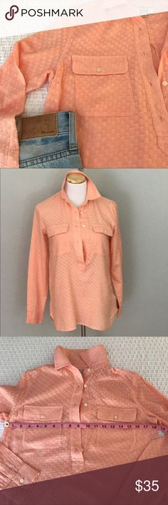 Madewell cotton popover top Pretty in peach in this Madewell pop-over top with 5 buttons done in 100% cotton.  Size is extra small, 18 inches between armpits lying flat. Good used condition, no issues. Looks great with everything and the Swiss-dotted lace effect is fun. Style is called Market Popover in Clipdot and it was a big seller. Madewell Tops Blouses