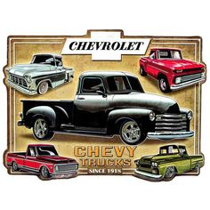 Chevy Trucks Embossed Tin Sign