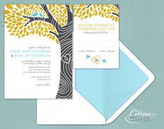 Tree Initials and 2 love birds Wedding Invitation/ DIY PDF Printable