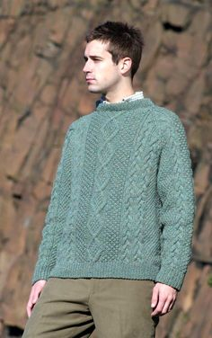 2cc467789 CLAN - Mens Hand-Knitted Luxury Aran Sweater - Moorfoot Men s Knitwear
