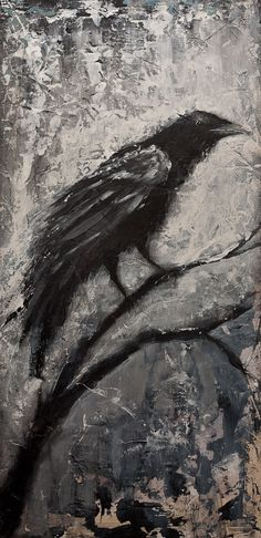 The Raven Original Pallet Knife Painting of Dark Gothic Crow, Black Bird on Panel Ready to Hang, Black and White Painting by GrayArtus on Etsy