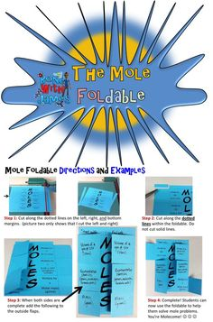 Looking for a tool to help your students solve basic mole problems?   Allow the students the opportunity to use The Mole Foldable to assist and support them while showing their work via dimensional analysis. The Mole Foldable is limited in the types of problems relationships: grams-volume, grams-particles, volume-particles (and vice versa) so please keep that in mind during purchase and when assigning problems. (Particles: atoms, molecules, formula units, ions) #chemistry