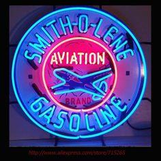 Smith O Lenee Gasoline Aviation Neon Sign