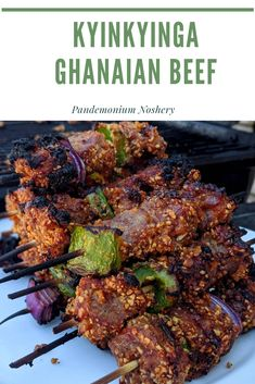 Ghanaian Beef Skewers coated in a spicy nutty mixture. Perfect for summer grilling. Almond Crusted Chicken, Beef Skewers, Cooking Challenge, Beef Sirloin, Kebab Recipes, Grilled Chicken Salad, Walnut Salad, Other Recipes, Tandoori Chicken
