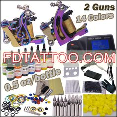 2 Tattoo Machines Kit with LCD Power Supply Colors) Tattoo Kits For Sale, Beginner Tattoo Kit, Professional Tattoo Kits, Tattoo Practice Skin, Tattoo Machine Kits, Tattoo Power Supply, Tattoo Equipment, Tattoo Needles, Top Tattoos