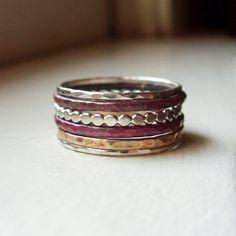 Mélange de métaux empilage anneaux - jeu de 6 bandes en argent Sterling, en laiton et feu teinté cuivre