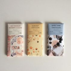 Chocolate Wrappers - Canadian graphic designer Miji Lee is the creative force behind this vivid candy packaging—chocolate wrappers inspired by gorgeous watercolor. Candy Packaging, Cool Packaging, Chocolate Packaging, Coffee Packaging, Chocolate Wrapper, Design Packaging, Bottle Packaging, Packaging Ideas, Label Design