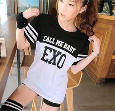 EXO Football clothes 2015 summer CALL ME BABY letters print womens t-shirt ladies short sleeve tshirt girls black white tops tee
