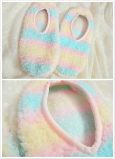 Mokomoko Stripe Footies in Yellow x Pink x Sax - Lolita Desu