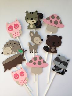 12 Girly Woodland Themed Favor Hag Tags, Goody Bag Tags, Treat Toppers, Deer, Fawn,Hedgehog,Fox,Beaver,Skunk,Owl. $15.00, via Etsy.