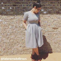 LuLaRoe Amelia dress ❤️ Gray with stripes.  Simple match with Sam Edelman booties & Vintage gold chain.  @lularoerachelbrown