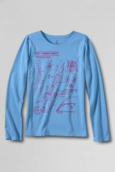 Girls' Long Sleeve Scalloped Edge Space Graphic T-shirt from Lands' End