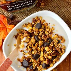 Sometimes you need a little dessert for breakfast. Warm spices, pumpkin, and chocolate chips make Iowa Girl Eats' heartyPumpkin Spice Chocolate Granolaa better way to indulge./