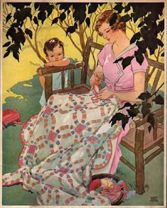 mom hand-sewing a double wedding ring quilt while her young son watches, illustration by miriam story hurford
