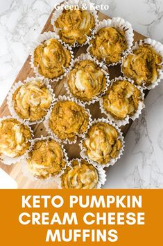 Keto Pumpkin Cream Cheese Muffins Try these keto pumpkin muffins. They are scented with warm fall spices and filled with delicious pumpkin flavor. Plus, they're made with almond flour and coconut flour — so you know they're low-carb and gluten-free. Pumpkin Cream Cheese Muffins, Pumpkin Cream Cheeses, Almond Flour Muffins, Recipes With Almond Flour, Flavored Cream Cheeses, Low Carb Keto, Low Carb Recipes, Easy Recipes, Shake Recipes