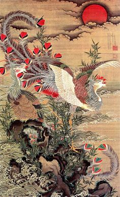 (Japan) 鳳凰 Phoenix by Ito Jakuchu Japanese Artwork, Japanese Painting, Japanese Prints, Chinese Painting, Chinese Art, Art Chinois, Art Asiatique, Traditional Japanese Art, Art Japonais