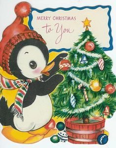 1940s — Penguin and Christmas Tree
