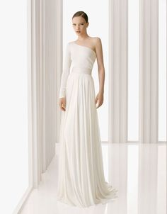 simple one shoulder gown