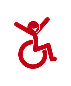I like this fresh take - fun wheelchair car decal - http://blossomforchildren.co.uk/mobility/13-vinyl-stickers.html