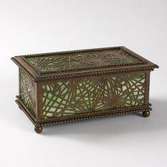 """Tiffany Glass and Bronze """"Pine Needle"""" Humidor Box"""