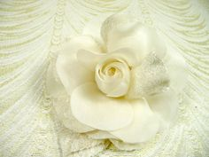 Silk and Velvet Millinery Rose Off white Ivory Cream Gardenia  for Weddings Hats Brooch Hair Clips Head Band