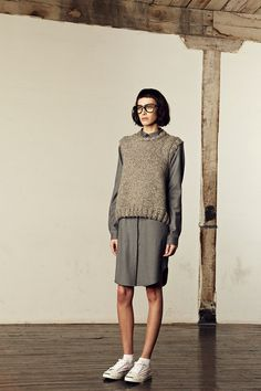 M. Patmos F/W 2014, wool sweater, grey shirt dress, white sneakers, glasses / Garance Doré