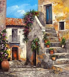 The work of the contemporary artist Francesco Mangi - ART Watercolor Painting Watercolor Architecture, Watercolor Landscape, Landscape Art, Landscape Paintings, Watercolor Paintings, Acrylic Art, Beautiful Paintings, Painting Techniques, Painting Inspiration