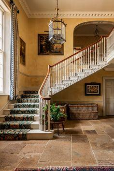 Philippa Bradstock of Longbottom House, Biddesden near Andover, Hampshire England - The Foyer Entry Hallway, Entrance Hall, Country House Interior, Vintage Farm, Villa, Stairs, Manor Houses, Andover Hampshire, House Interiors