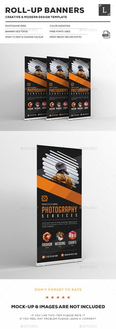 Photography Roll-up Banners - Signage Print Templates Letterhead Template, Brochure Template, Flyer Template, Rollup Banner Design, Digital Signage Displays, Roll Up Design, Presentation Folder, Church Banners, Cool Business Cards