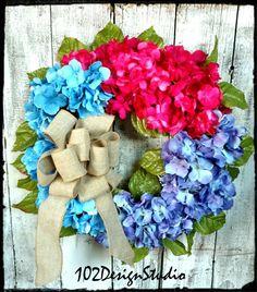 Blue Pink Purple HYDRANGEA WREATH Spring Wreath by 102DesignStudio