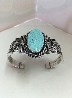 Nativo Americano De Prata Esterlina Navajo # 8 Bracelete De Turquesa in Joias, bijuterias e relógios, Étnicas, regionais e tribais, Indígenas norte-americanos | eBay