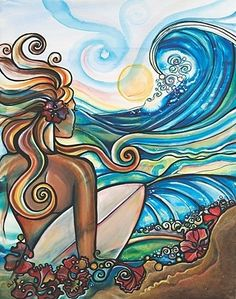 Salt in the air & Sand in my hair / Surfer girl art