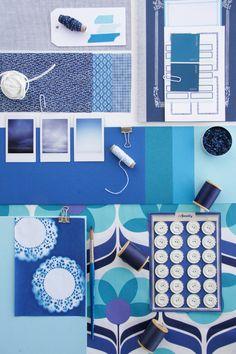 Blue mood board. Love the colors