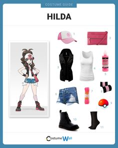 Dress like Hilda, the female character in Pokemon Black and White, who plays with her counterpart Hilbert.