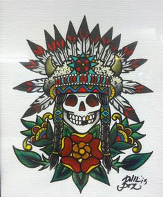 Indian Headdress Tattoo Flash by Phil | Cheyenne Mountain Tattoo