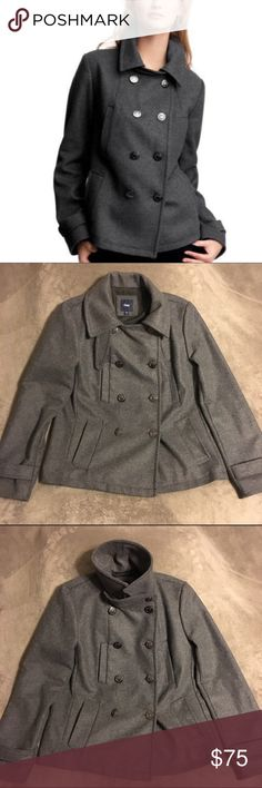 NWOT GAP Gray Wool Peacoat w/ Crown Buttons Gorgeous gray wool peacoat from GAP. Large silver buttons with a crown detail. Size small. Never worn, but tags were removed. For an especially cold day you can flip the collar up and secure it with the strap. Perfect for fall or winter - your new favorite coat! GAP Jackets & Coats Pea Coats
