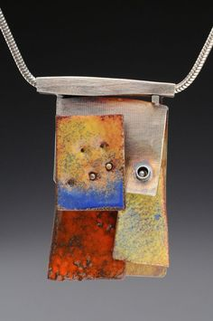 Marks Alexander: Sterling Silver - Fold Fromed and Constructed with Torch Fired Enamel, from his ATL / LAX series of sculture and jewelry.  The ATL / LAX Series was inspired by the geological land formations observed on a cross country flight from Atlanta to Los Angeles.: