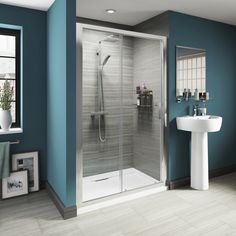 The Victoria Plumb luxury Sliding Door really highlights the available showering space, with its clear glass expanse. The stylish sliding doors glide gracefully on the single unobtrusive top rail. This is a fantastic solution for when space is needed for other bathroom items such as sinks and towel rails outside of the enclosure, as the sliding doors do not project out into the bathroom.