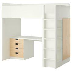 STUVA Loft bed combo w 4 drawers/2 doors - white/birch - IKEA